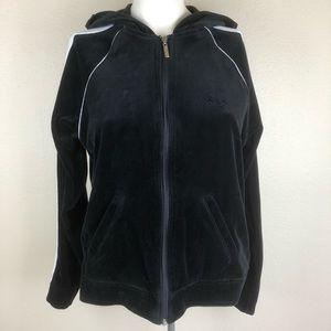 Oleg Cassini Sport Track Jacket S Black Hood Zip
